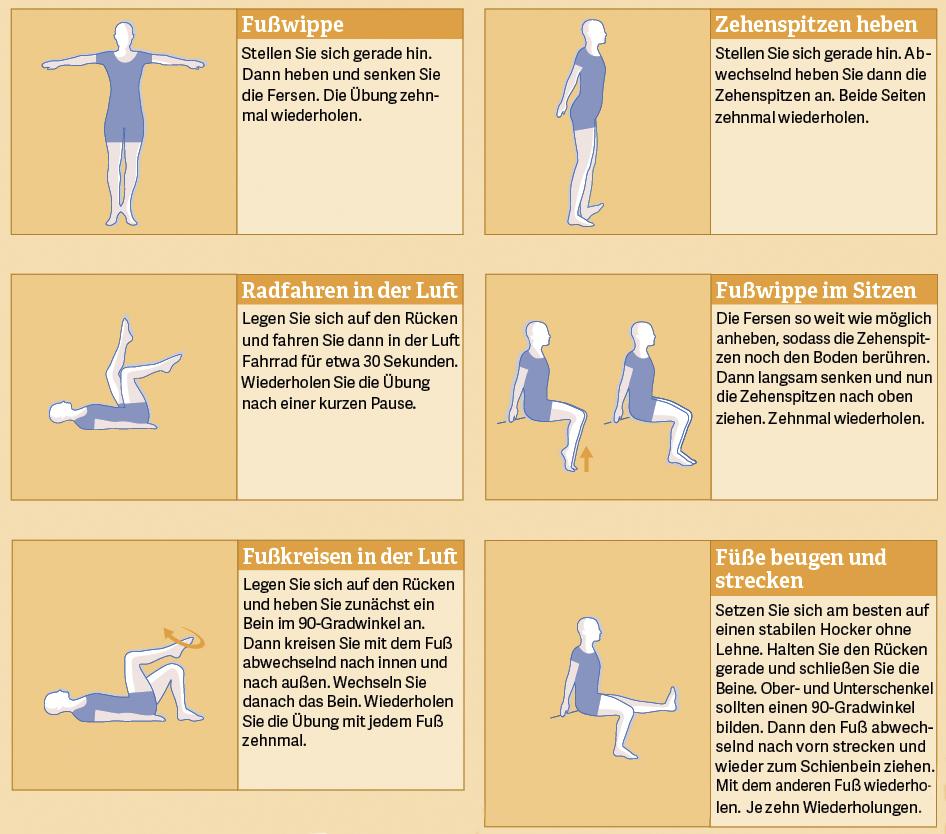 Grafik: Übungen gegen Venenleiden/Krampfadern