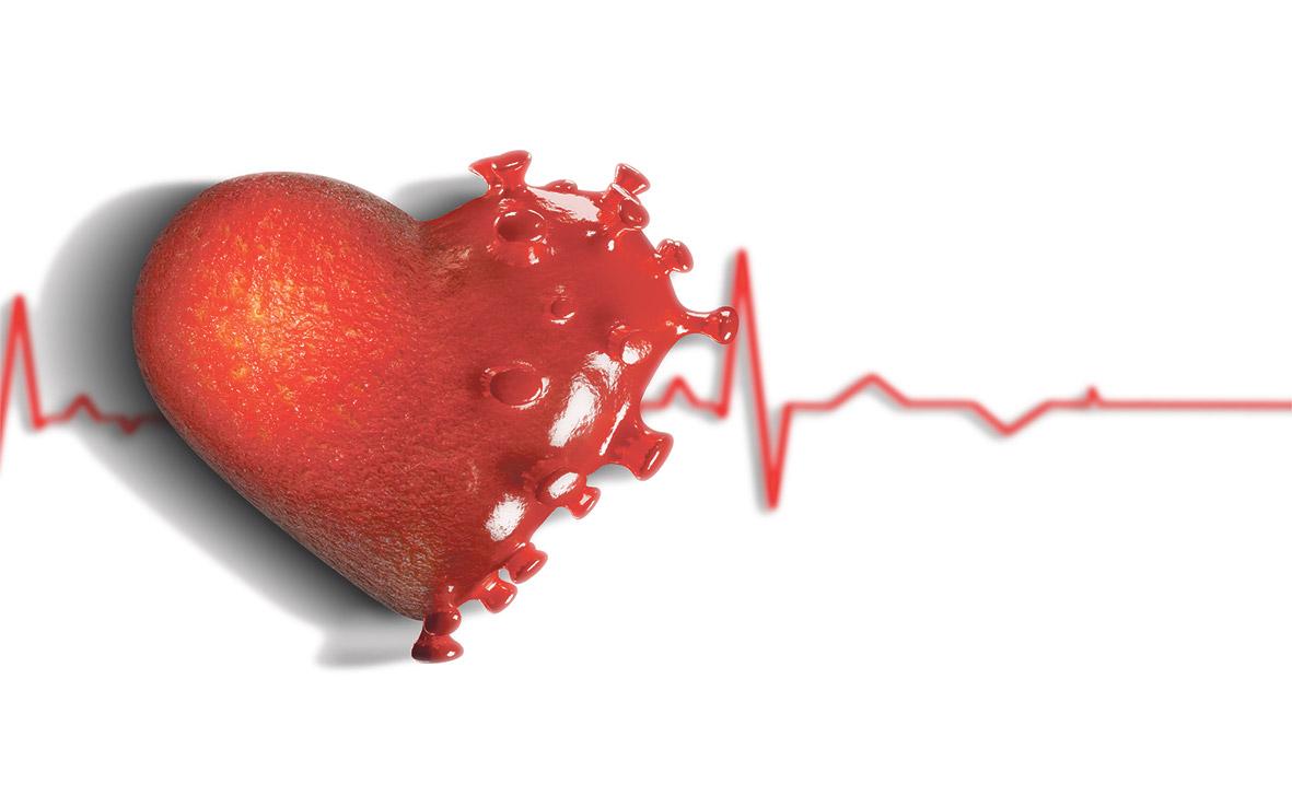 Die Hälfte eines Herzes ist als Coronavirus geformt.