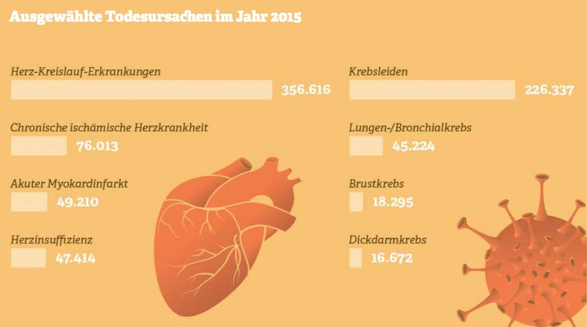 Grafik: Ausgewählte Todesursachen im Jahr 2015.