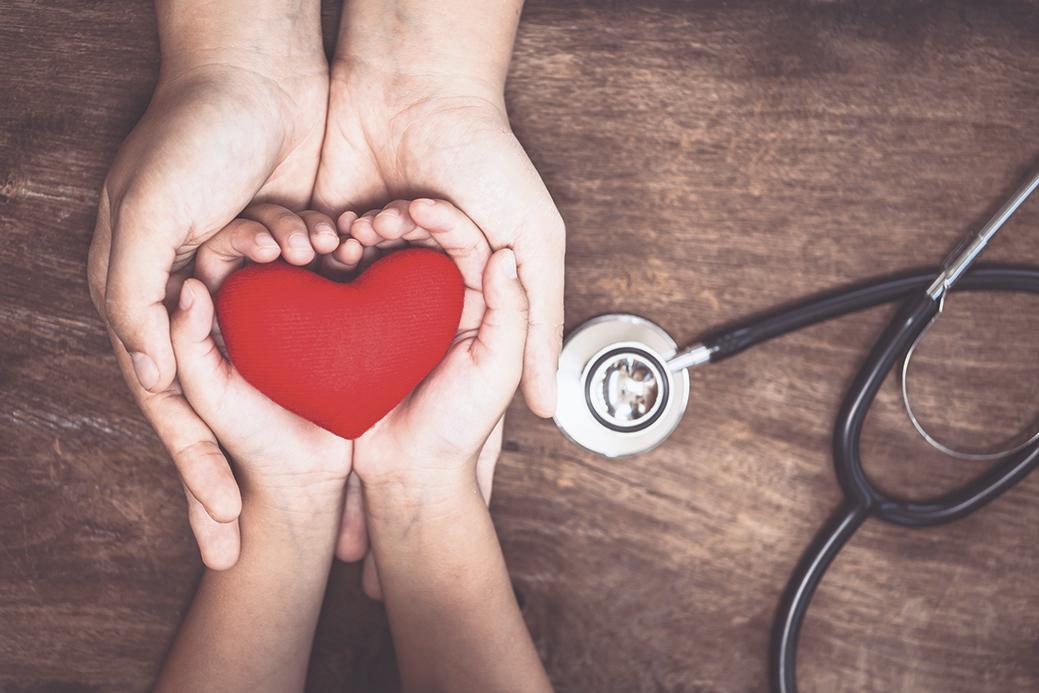 Herz liegt in einer Kinderhand, die in einer Erwachsenenhand liegt. Thema: Anzeichen Herzinfarkt