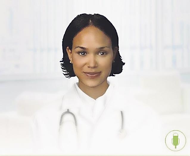 Bild einer virtuell-erzeugten Frau mit Stethoskop. Thema: Herzinsuffizienz-Therapie mit virtueller Ärztin