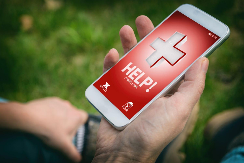 Benutzeroberfläche einer Notfall-App auf dem Smartphone.