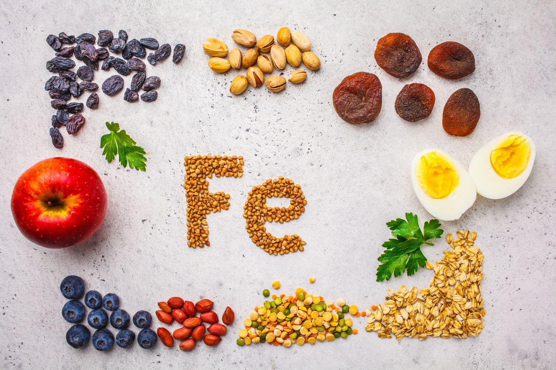 Eisenhaltige Lebensmittel schön drapiert